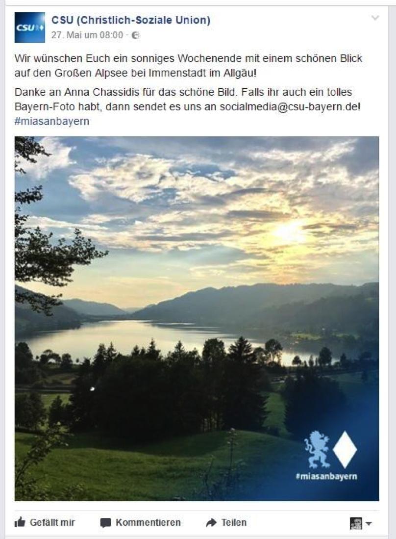 Facebook Wahlkampf der CSU - Screenshot eines Posts