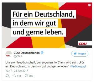 Ein Tweet der CDU. Zu sehen ist ihre Hauptbotschaft