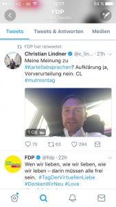 Das Twitterprofil der FDP. Zu sehen ist an Retweet eines Videos von Christian Lindner.