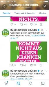Das Twitterprofil der Grünen. Zu sehen ist unter anderem ein Tweet mit einer Grafik, die in der Vorschau oben und unten abgeschnitten ist.