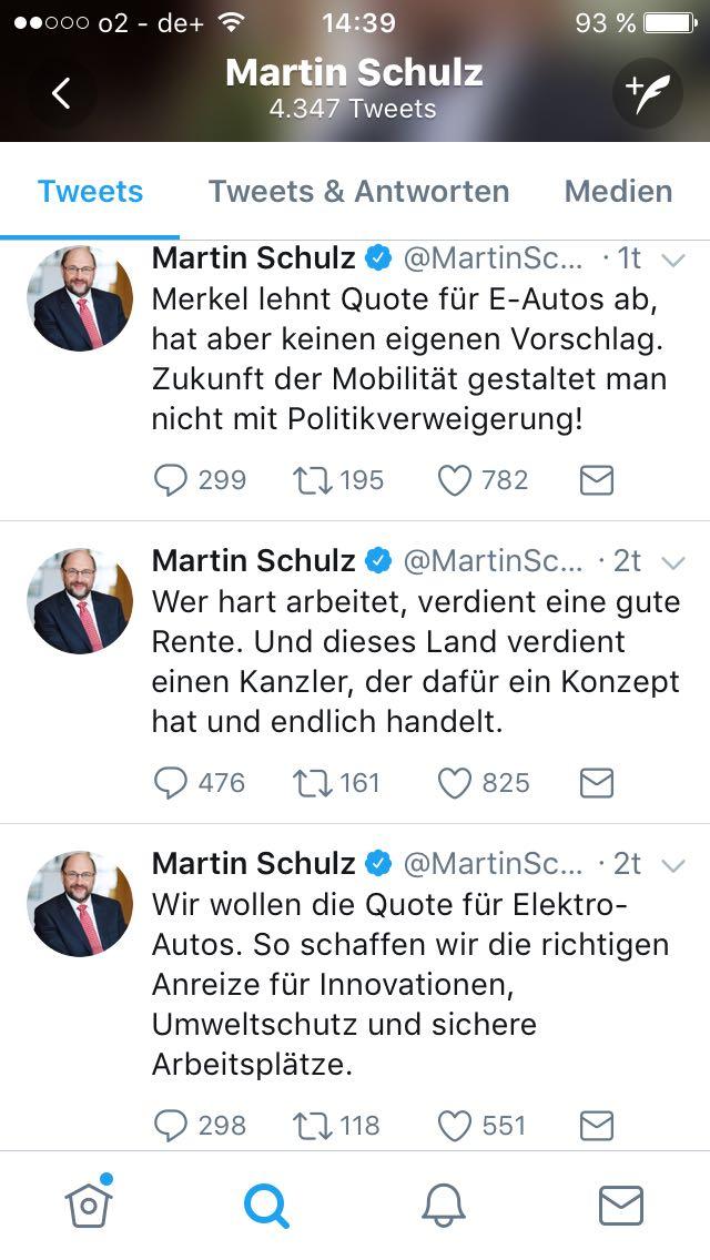 Das Twitterprofil und Tweets von Martin Schulz