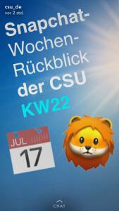 Super Wahlkampf auf Snapchat: Blauer Hintergrund, darauf in weißem Text: Snapchat-Wochenrückblick der CSU.